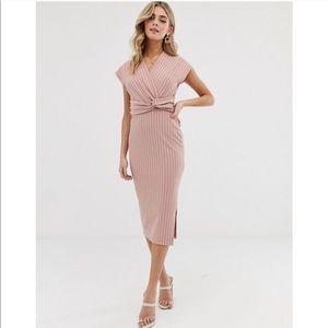 ASOS midi twist front pencil dress Dusty Rose NWT
